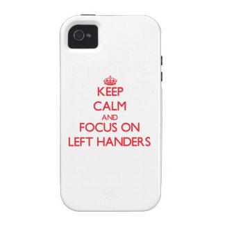 Guarde la calma y el foco en zurdos iPhone 4/4S carcasa