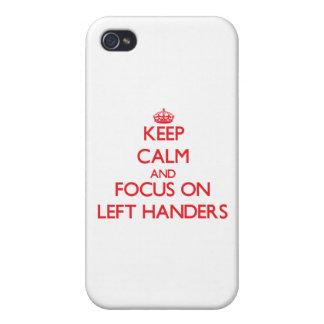 Guarde la calma y el foco en zurdos iPhone 4 protector