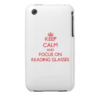 Guarde la calma y el foco sobre los vidrios de lec iPhone 3 carcasas