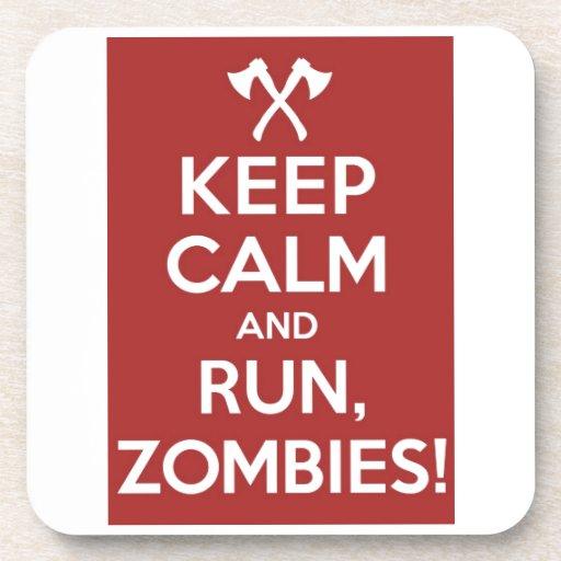 ¡Guarde la calma y el funcionamiento, zombis! Posavaso