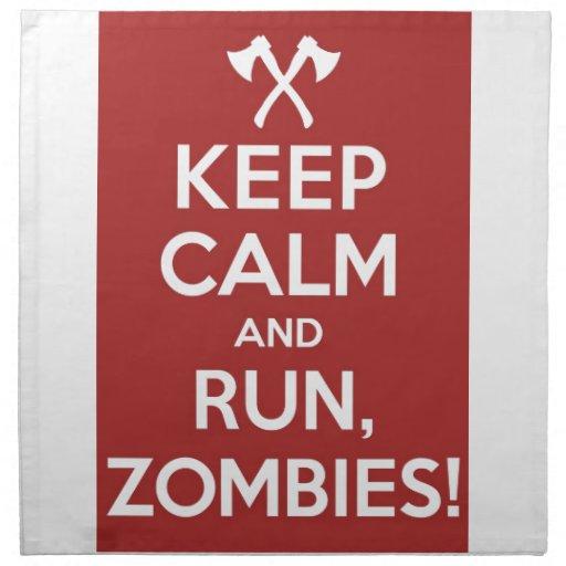¡Guarde la calma y el funcionamiento, zombis! Servilleta Imprimida