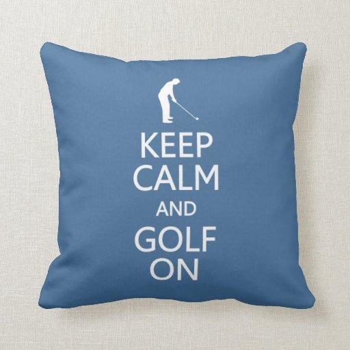 Guarde la calma y el golf en la almohada de tiro d