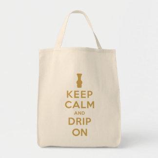 Guarde la calma y el goteo encendido bolsa tela para la compra
