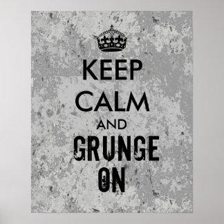 Guarde la calma y el Grunge en gris sucio del Posters