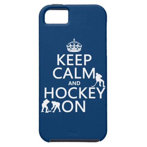 Guarde la calma y el hockey en (en cualquier color iPhone 5 Case-Mate fundas