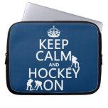 Guarde la calma y el hockey en (en cualquier color fundas ordendadores