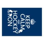Guarde la calma y el hockey en (en cualquier color tarjeta de visita