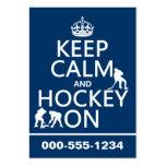 Guarde la calma y el hockey en (en cualquier color tarjetas de negocios