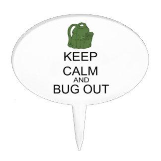 Guarde la calma y el insecto hacia fuera figuras de tarta