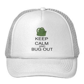 Guarde la calma y el insecto hacia fuera gorros