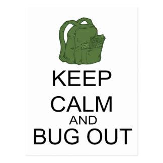 Guarde la calma y el insecto hacia fuera postales