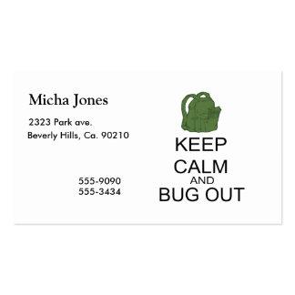 Guarde la calma y el insecto hacia fuera tarjeta de visita