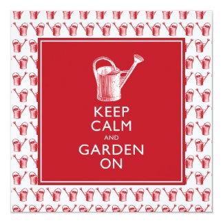 """Guarde la calma y el jardín en jardinero británico invitación 5.25"""" x 5.25"""""""
