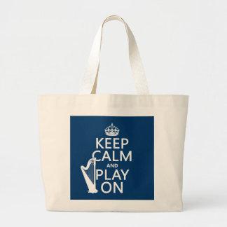 Guarde la calma y el juego en (arpa) (cualquier bolsa de tela grande