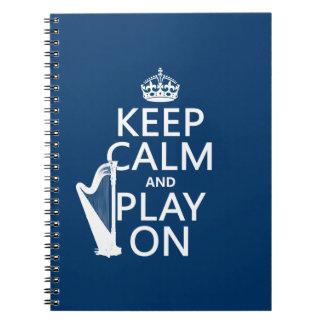 Guarde la calma y el juego en (arpa) (cualquier co libros de apuntes