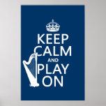 Guarde la calma y el juego en (arpa) (cualquier co poster