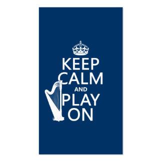Guarde la calma y el juego en arpa cualquier co plantillas de tarjeta de negocio