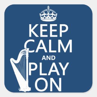 Guarde la calma y el juego en (arpa) (cualquier pegatinas cuadradas personalizadas