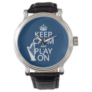 Guarde la calma y el juego en (arpa) (cualquier reloj de mano