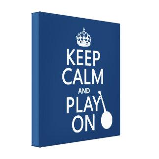 Guarde la calma y el juego en banjo cualquier c impresión en lona