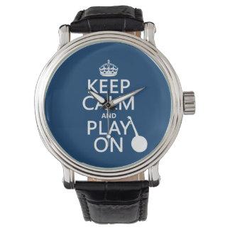 Guarde la calma y el juego en (banjo) (cualquier relojes de mano