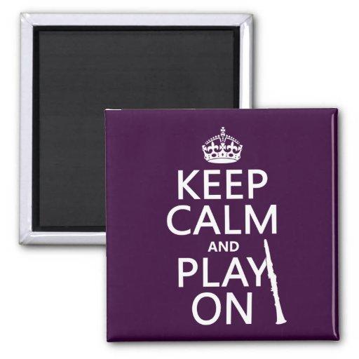 Guarde la calma y el juego en (clarinet) (cualquie iman de frigorífico