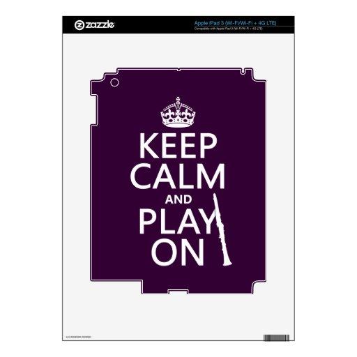 Guarde la calma y el juego en (clarinet) (cualquie iPad 3 skin