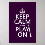 Guarde la calma y el juego en (clarinet) (cualquie posters
