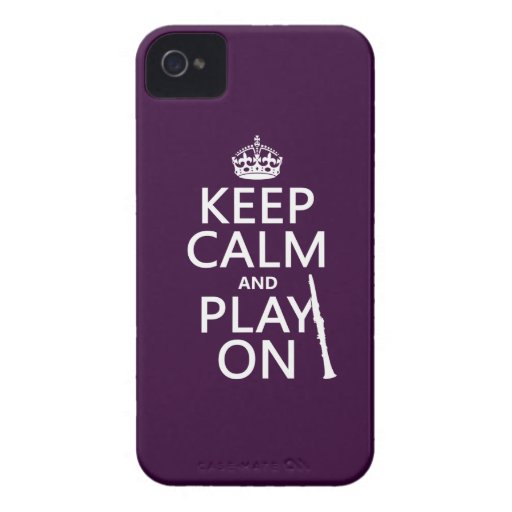 Guarde la calma y el juego en (clarinet) iPhone 4 protector