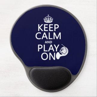 Guarde la calma y el juego en (cuerno) (cualquier  alfombrilla de raton con gel