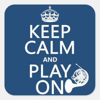Guarde la calma y el juego en (cuerno) (cualquier pegatinas cuadradas personalizadas