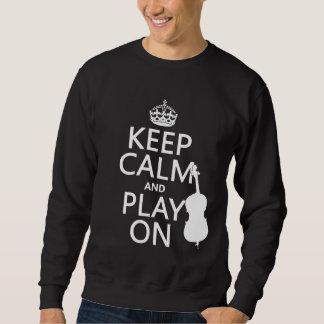 Guarde la calma y el juego en (el bajo doble) suéter