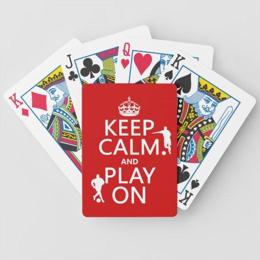 Guarde la calma y el juego en (el fútbol) (en cual barajas de cartas