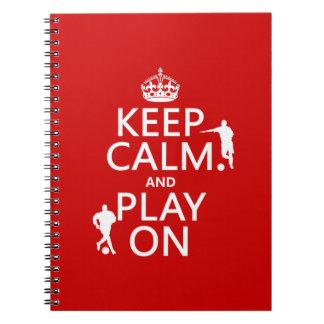 Guarde la calma y el juego en (el fútbol) (en cual libro de apuntes con espiral