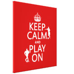 Guarde la calma y el juego en (el fútbol) (en cual impresión en lienzo estirada