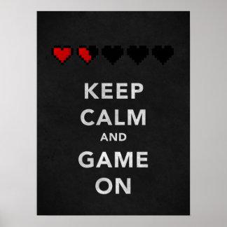 Guarde la calma y el juego en (el ónix) póster