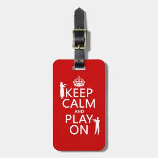 Guarde la calma y el juego en (flauta) (cualquier  etiquetas para maletas