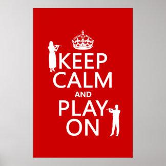 Guarde la calma y el juego en (flauta) (cualquier  poster