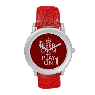 Guarde la calma y el juego en (flauta) (cualquier  relojes de pulsera