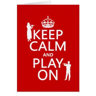 Guarde la calma y el juego en (flauta) (cualquier  tarjeta