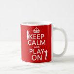 Guarde la calma y el juego en (flauta) (cualquier  tazas de café