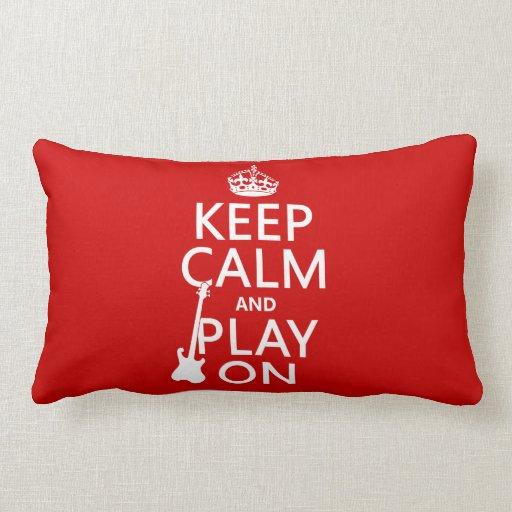Guarde la calma y el juego en (guitarra) (cualquie almohadas