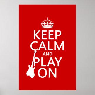 Guarde la calma y el juego en (guitarra) (cualquie posters