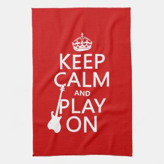 Guarde la calma y el juego en (guitarra) (cualquie toallas