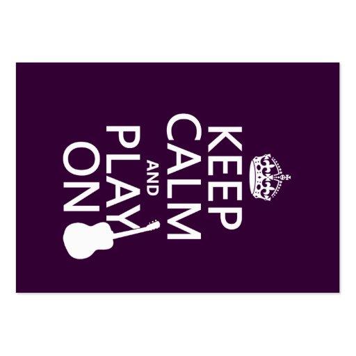 Guarde la calma y el juego en (guitarra) (todos lo tarjetas de visita grandes
