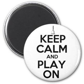 Guarde la calma y el juego en Handbells Imán Redondo 5 Cm