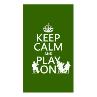 Guarde la calma y el juego en (los instrumentos tarjetas de visita