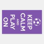 Guarde la calma y el juego en los pegatinas rectangular pegatina