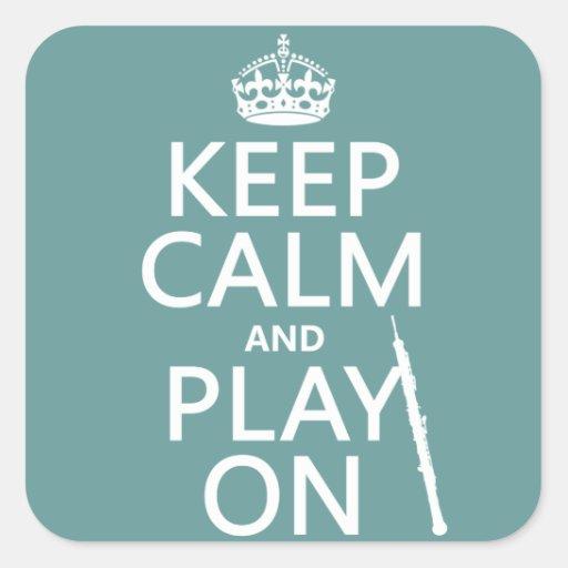 Guarde la calma y el juego en (oboe) (cualquier co pegatina cuadradas
