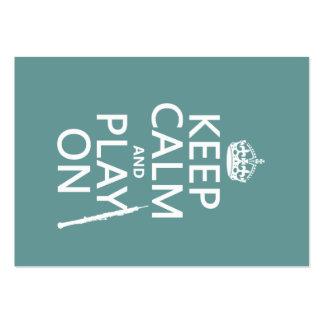 Guarde la calma y el juego en (oboe) (cualquier co tarjetas de visita grandes
